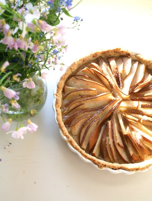 pear pie and lovely spring flowers